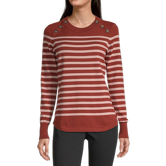 Liz Claiborne Womens Crew Neck Striped Pullover Sweater