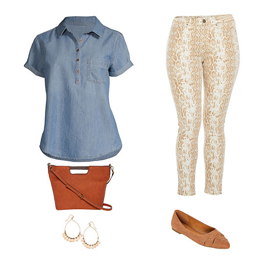 Fall Fashion: a.n.a. Short Sleeve Denim Top and High Rise Skinny Ankle Jean
