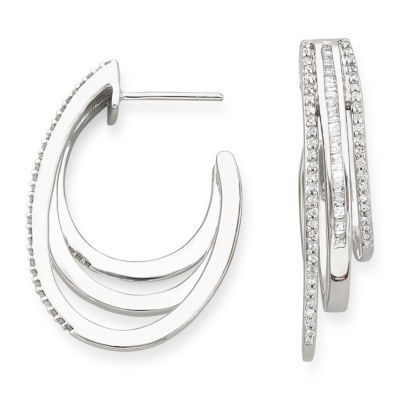 3/4 CT. T.W. Diamond Triple-Hoop Earrings