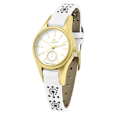 Decree Womens White Strap Watch-Pt1072gdwt