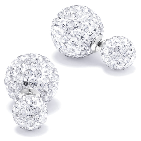 Silver Treasures Crystal Front - Back Ball Sterling Silver Stud Earrings