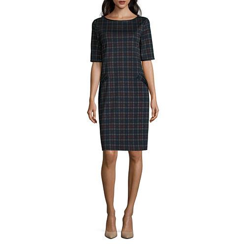 Tiana B Elbow Sleeve Plaid Shift Dress