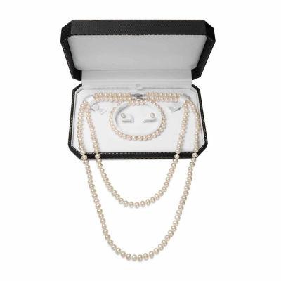 Womens 4-pc. Cultured Pearl Sterling Silver Jewelry Set