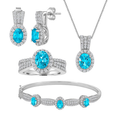 Genuine Blue Topaz Pure Silver Over Brass 4-pc. Jewelry Set