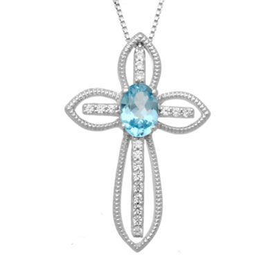 Genuine Swiss Blue Topaz & Lab-Created White Topaz Sterling Silver Cross Pendant Necklace