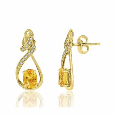 Genuine Citrine & Lab Created White Sapphire 14K Gold Over Silver Earrings