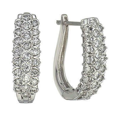 1 CT. T.W. White Diamond 14K Gold Hoop Earrings