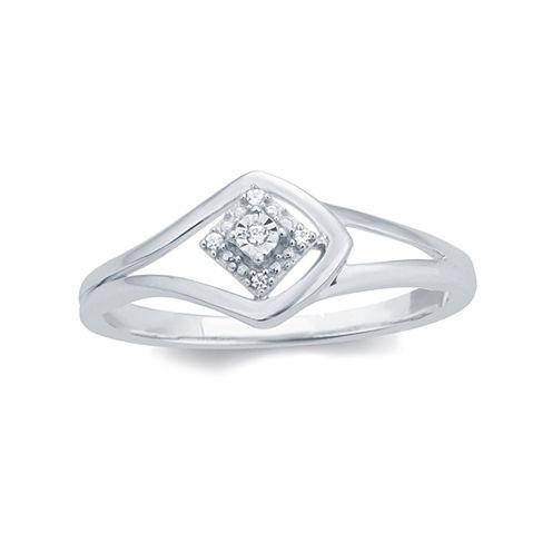 Womens Diamond Accent Genuine Round White Diamond 10K Gold Engagement Ring