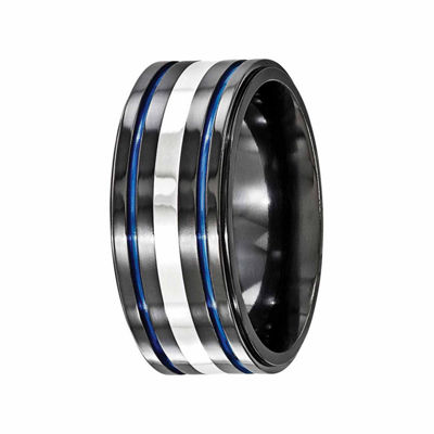 Edward Mirell Mens 10 Mm Sterling Silver Titanium Band