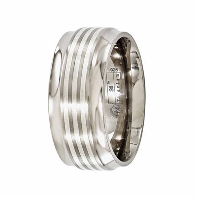 Edward Mirell Mens 9 Mm Sterling Silver Titanium Band