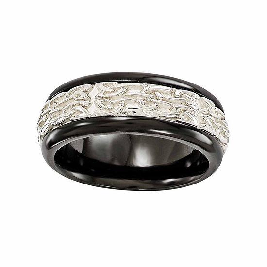 Edward Mirell Mens 9 Mm Sterling Silver Titanium Wedding Band