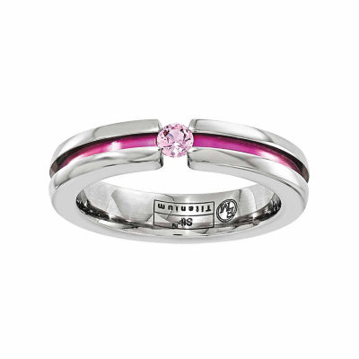 Edward Mirell Mens 4 Mm Pink Sapphire Titanium Wedding Band
