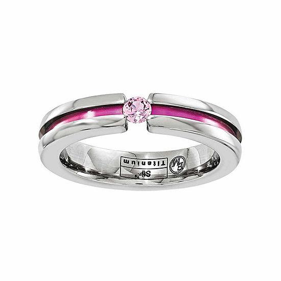 Edward Mirell 4 Mm Genuine Pink Sapphire Titanium Wedding Band