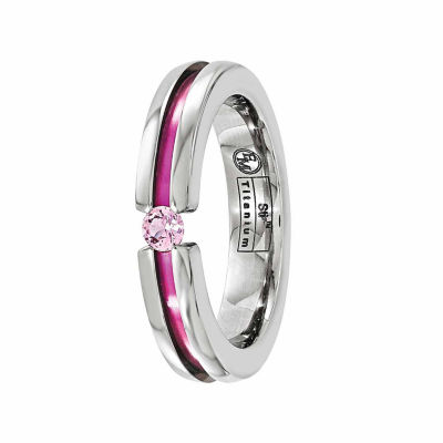 Edward Mirell Mens Pink Sapphire Titanium Wedding Band