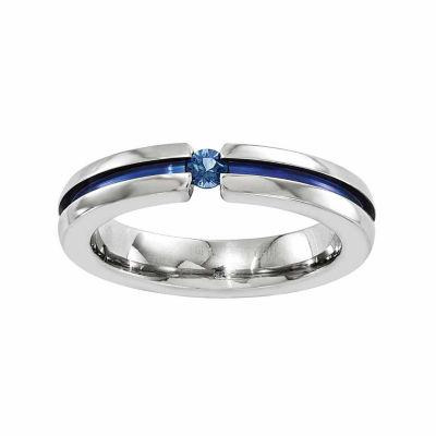 Edward Mirell Mens 4 Mm Genuine Blue Sapphire Titanium Wedding Band