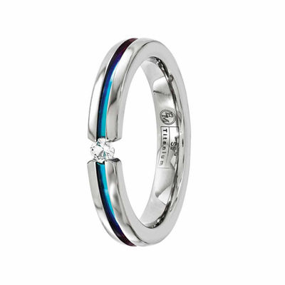 Edward Mirell Mens 4 Mm Genuine White Sapphire Titanium Wedding Band