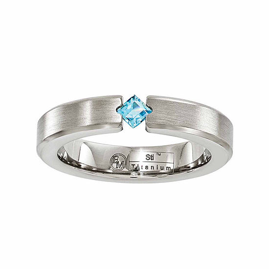 Edward Mirell Mens 4 Mm Genuine Blue Topaz Titanium Wedding Band
