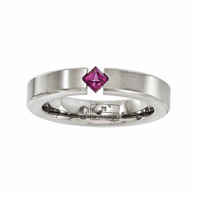 Edward Mirell Mens 4 Mm Genuine Purple Rhodolite Titanium Wedding Band
