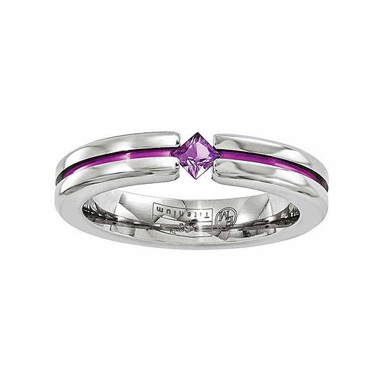 Edward Mirell Mens 4 Mm Genuine Purple Amethyst Titanium Wedding Band