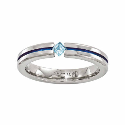 Edward Mirell Mens 4 Mm Blue Topaz Titanium Band