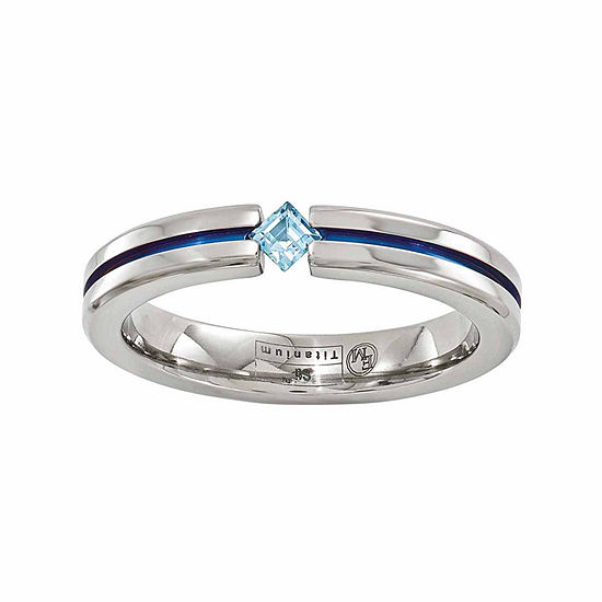 Edward Mirell Mens 4 Mm Genuine Blue Topaz Titanium Wedding Band
