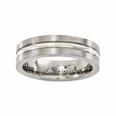 Edward Mirell Mens 6 Mm Sterling Silver Titanium Wedding Band