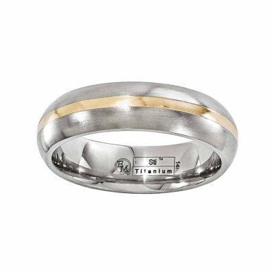 Edward Mirell Mens 6 Mm 14K Gold Titanium Wedding Band