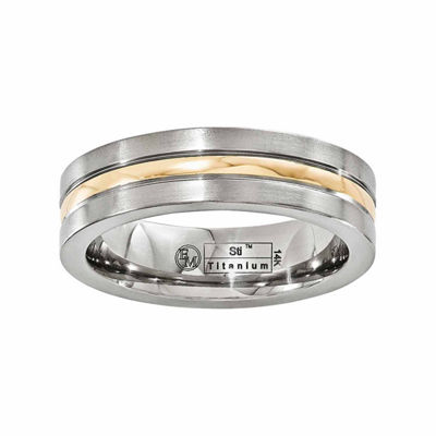 Edward Mirell Mens 6 Mm 14K Gold Titanium Band