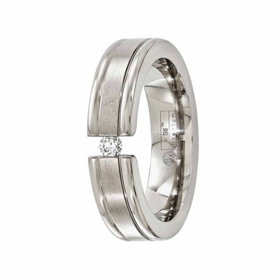 Edward Mirell Mens 6 Mm 1/10 CT. T.W. Genuine White Diamond Titanium Band