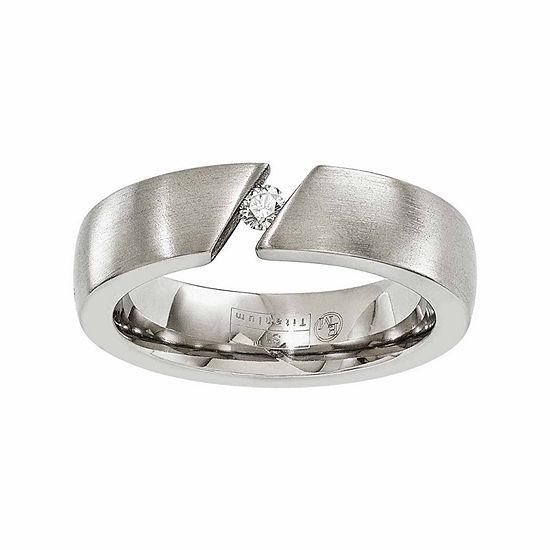 Edward Mirell Mens 6 Mm 1/10 CT. T.W. Genuine White Diamond Titanium Wedding Band