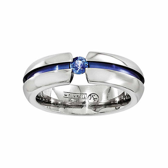 Edward Mirell Mens 6 Mm Genuine Blue Sapphire Titanium Wedding Band