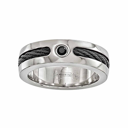 Edward Mirell Mens Genuine Black Titanium Wedding Band