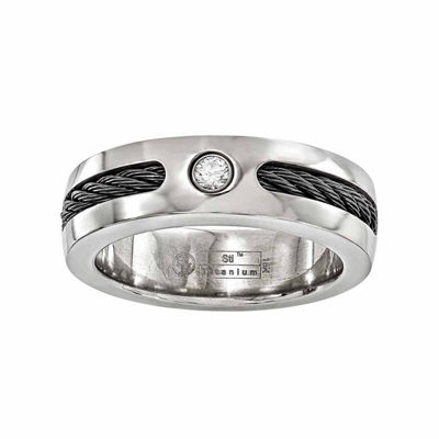 Edward Mirell Mens 7 Mm 1/10 CT. T.W. Genuine White Diamond Sterling Silver Titanium Wedding Band