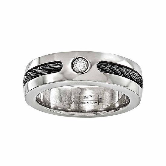 Edward Mirell Mens 7 Mm 1/10 CT. T.W. Genuine White Diamond Sterling Silver Titanium Wedding Band