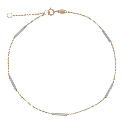 14K Gold 10 Inch Solid Cable Ankle Bracelet