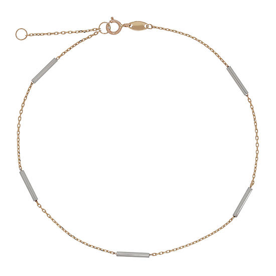 14K Gold 10 Inch Hollow Cable Ankle Bracelet