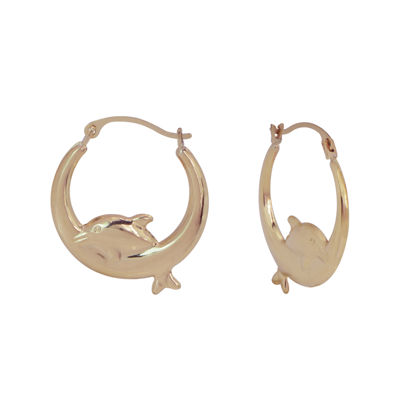 14K Gold Dolphin Hoop Earrings