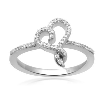 Hallmark Diamonds Womens 1/10 CT. T.W. Genuine White Diamond Sterling Silver Cocktail Ring