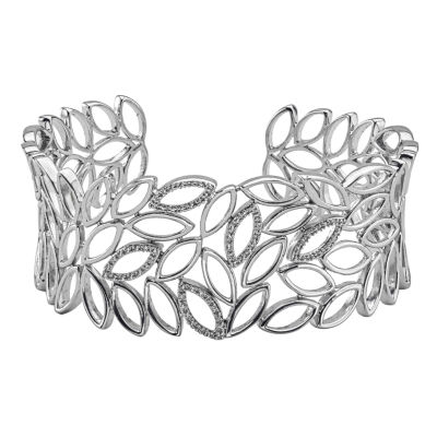 Womens 1/5 CT. T.W. White Diamond Cuff Bracelet
