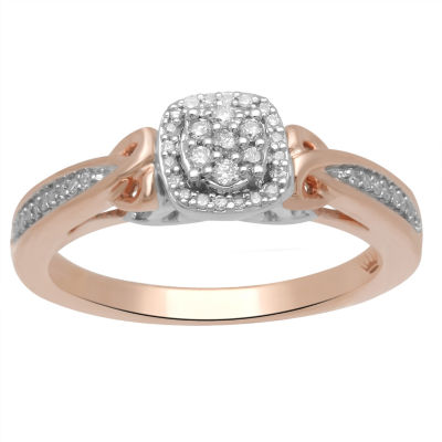 Hallmark Diamonds Womens 1/7 CT. T.W. Diamond Sterling Silver & 14K Rose Gold Over Silver Cocktail Ring