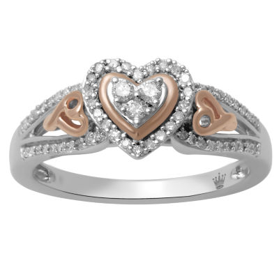 Hallmark Diamonds Womens 1/4 CT. T.W. White Diamond Sterling Silver & 14K Rose Gold Over Silver Cocktail Ring
