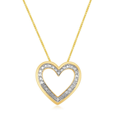 Womens 1/4 CT. T.W. Genuine White Diamond 14K Gold Over Silver Heart Pendant Necklace