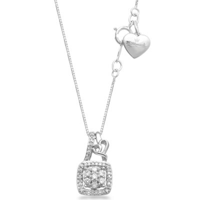 Hallmark Diamonds Womens 1/7 CT. T.W. Genuine White Diamond Sterling Silver Heart Pendant Necklace