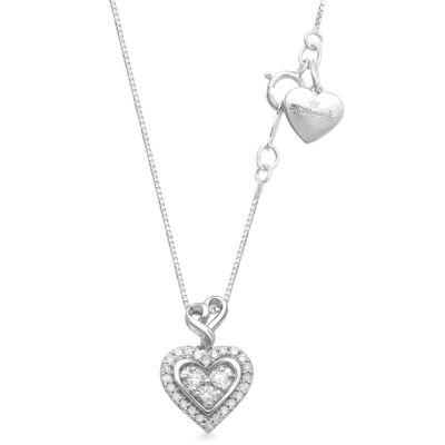 Hallmark Diamonds 1/7 CT. T.W. White Diamond Sterling Silver Heart Pendant
