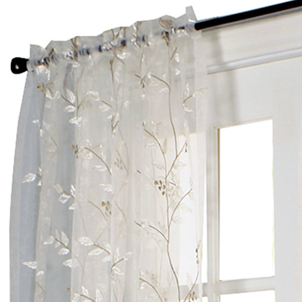 Venice Embroidered Rod-Pocket Sheer Curtain Panel