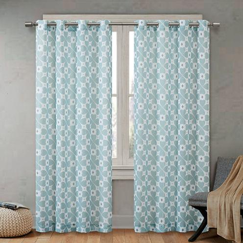 June Sheer Printed Grommet-Top Curtain Panel