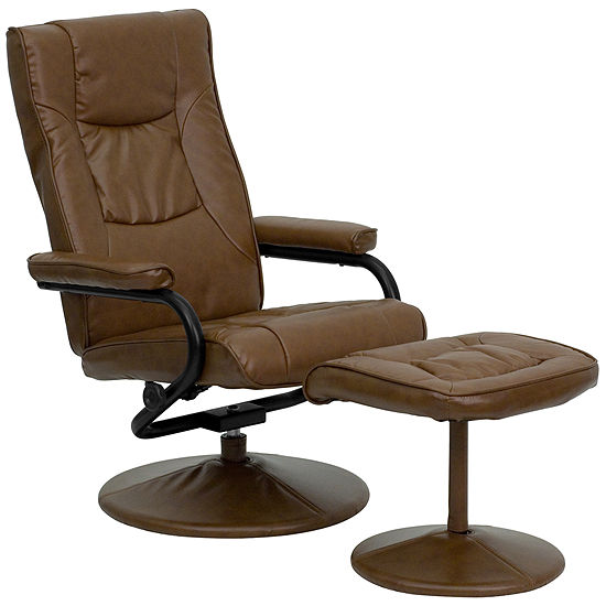 Contemporary Leather Recliner and Ottoman with Leather Wrapped Base