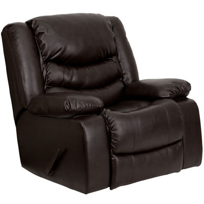 Plush Leather Lever Rocker Recliner with Padded Arms