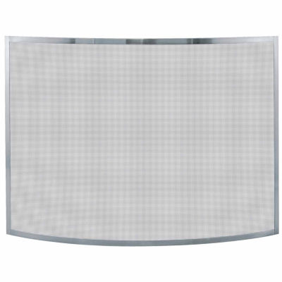 Blue Rhino Single Panel Curved Pewter Fireplace Screen
