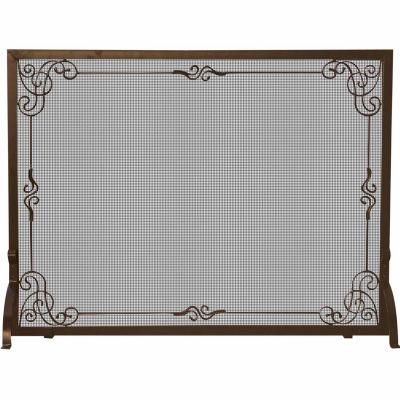 Single Panel Bronze Finish Fireplace Screen